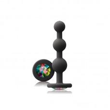 Glams Black Ripple Anal Plug Rainbow Gem